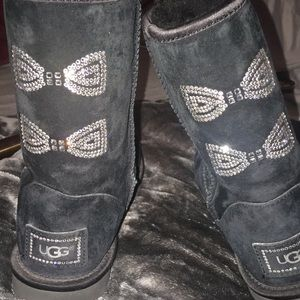 Uggs Swarovski rhinestone bow boots